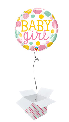 Baby Girl Dots Round Foil Helium Qualatex Balloon - Inflated Balloon in a Box