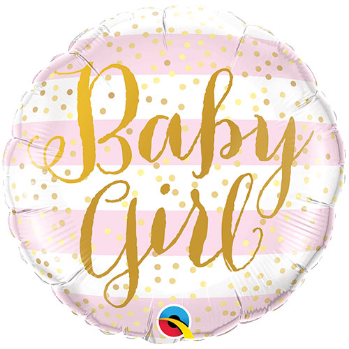 Baby Girl Pink Stripes Round Foil Helium Qualatex Balloon 46cm / 18 in