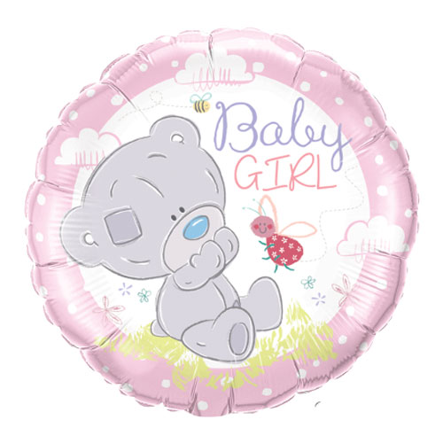 Baby Girl Teddy Round Foil Helium Qualatex Balloon 46cm / 18 in