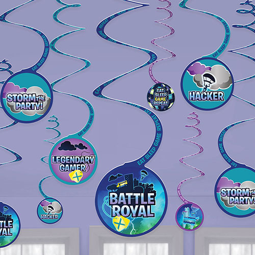 Battle Royal Hanging Swirl Decorations - Pack of 12