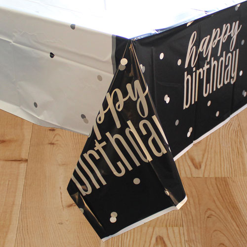 Black Glitz Birthday Plastic Tablecover 213cm x 137cm Product Image