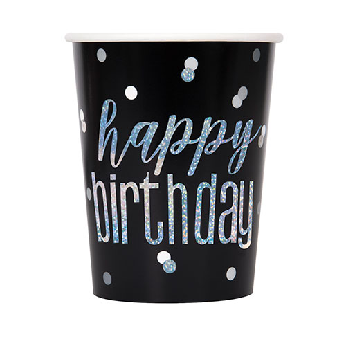 Black Glitz Holographic Birthday Paper Cups 270ml - Pack of 8