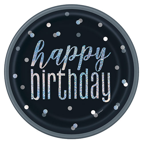 Black Glitz Holographic Birthday Round Paper Plates 22cm - Pack of 8