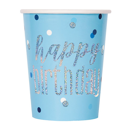 Blue Glitz Holographic Birthday Paper Cups 270ml - Pack of 8