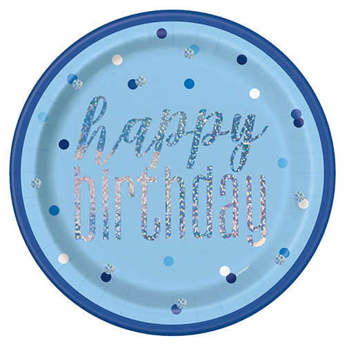 Blue Glitz Holographic Birthday Round Paper Plates 22cm - Pack of 8