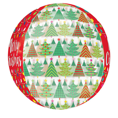 Christmas Tree And Lights See-Thru Orbz Foil Helium Balloon 38cm / 15 in Product Gallery Image