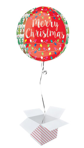 Christmas Tree And Lights Orbz Foil Helium Balloon - Inflated Balloon in a Box Product Gallery Image
