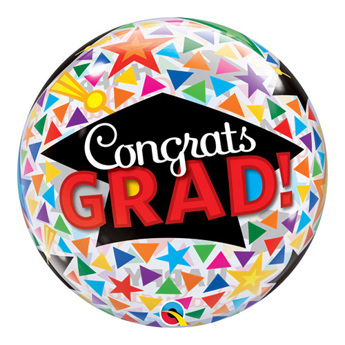 Congrats Grad Caps Bubble Helium Qualatex Balloon 56cm / 22 in Product Image