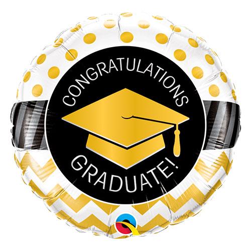 Congratulations Graduate Gold Dots And Chevron Round Foil Helium Qualatex Balloon 46cm / 18 in