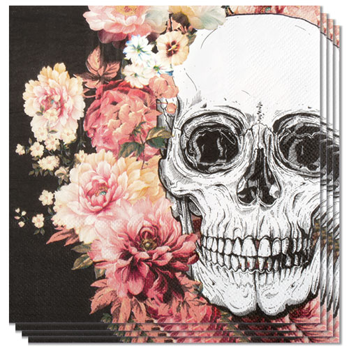 Day Of The Dead Flowers Halloween Luncheon Napkins 33cm 2Ply - Pack of 12