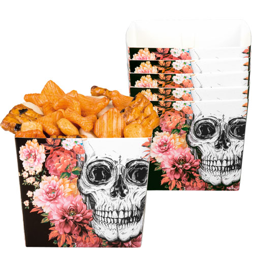 Day Of The Dead Flowers Halloween Paper Bowls - Pack of 6