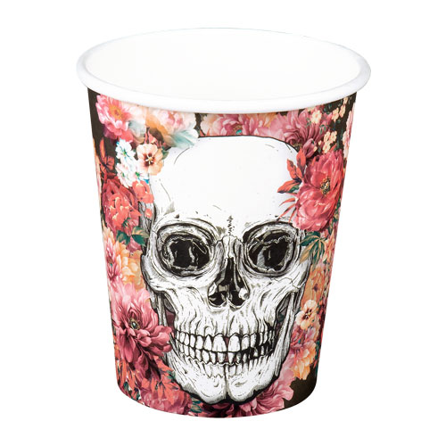 Day Of The Dead Flowers Halloween Paper Cups 250ml - Pack of 6
