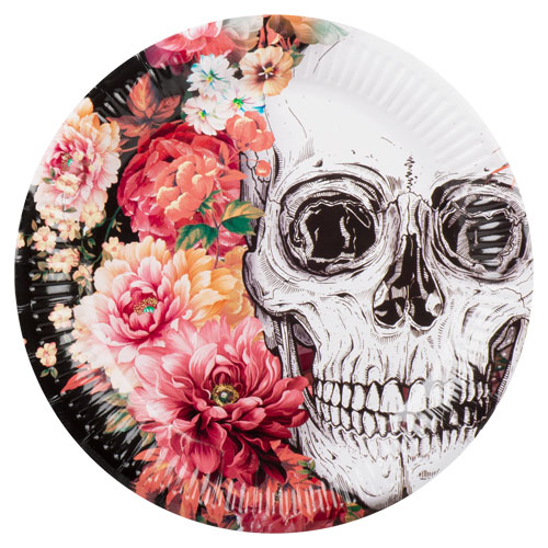 Day Of The Dead Flowers Halloween Round Paper Plates 23cm - Pack of 6