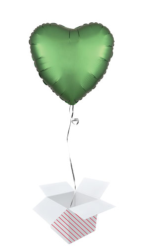 Emerald Green Satin Luxe Heart Shape Foil Helium Balloon - Inflated Balloon in a Box Product Image
