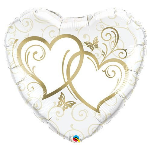Entwined Gold Hearts Supershape Helium Foil Qualatex Balloon 91cm / 36 in Product Image