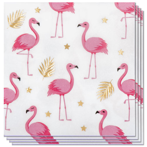 Flamingo Gold Foil Luncheon Napkins 33cm 2Ply - Pack of 12