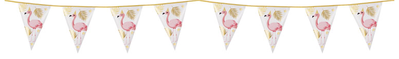 Flamingo Gold Foil Pennant Bunting 4m