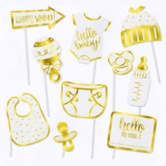 Gold Foil Stamped Baby Shower Party Photo Booth Props – Pack of 10