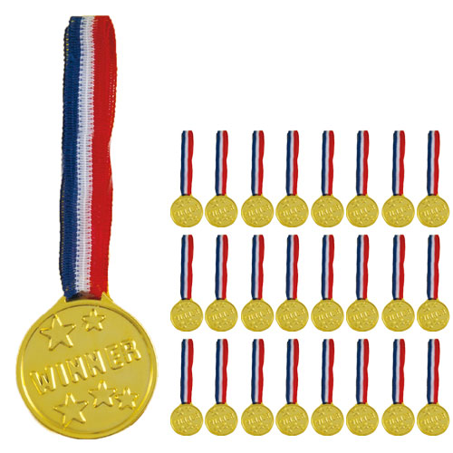 Gold Plastic Winners Medals - Pack of 24