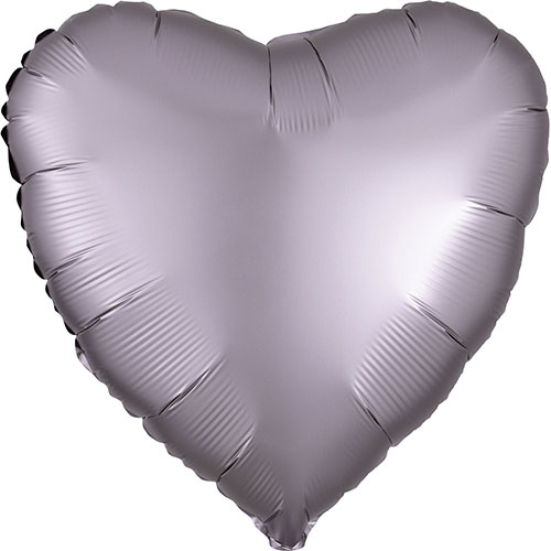Greige Satin Luxe Heart Shape Foil Helium Balloon 43cm / 17 in Product Image