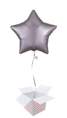 Greige Satin Luxe Star Shape Foil Helium Balloon - Inflated Balloon in a Box