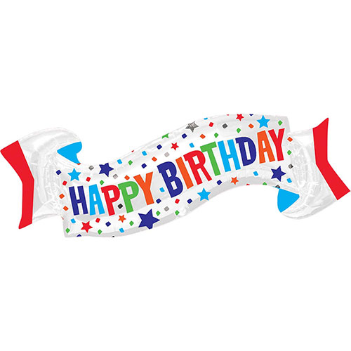 Happy Birthday Banner Supershape Helium Foil Balloon 101cm / 40 in
