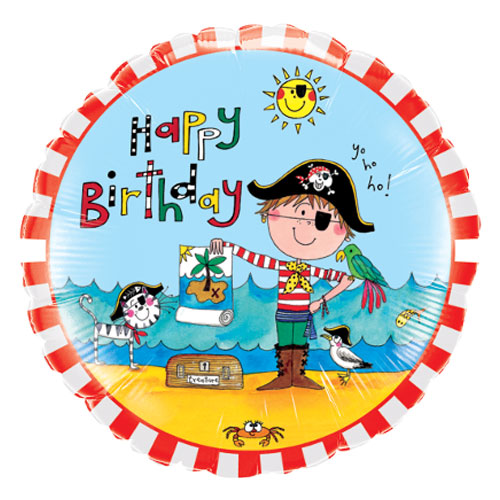 Happy Birthday Pirate Round Foil Helium Qualatex Balloon 46cm / 18 in