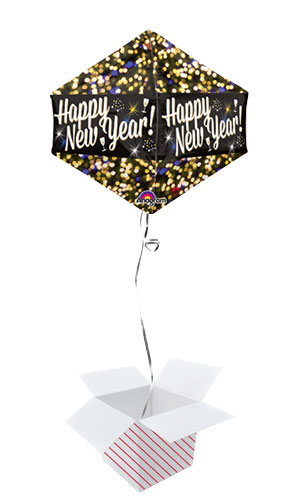 Happy New Year Anglez Foil Helium Balloon - Inflated Balloon in a Box
