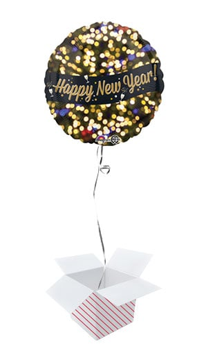 Happy New Year Celebration Round Foil Helium Balloon - Inflated Balloon in a Box