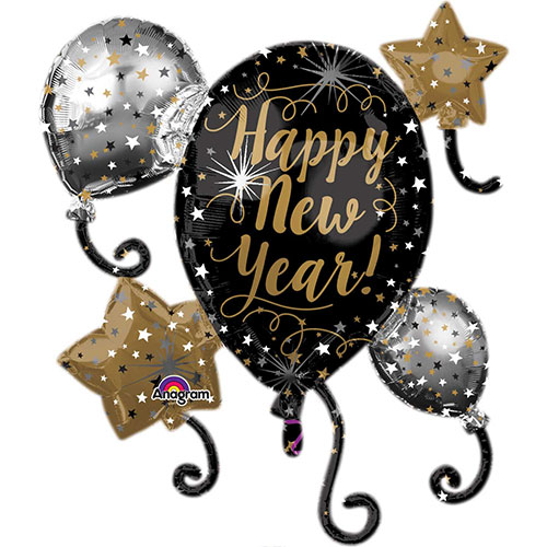Happy New Year Helium Foil Giant Balloon Cluster 76cm / 30 in