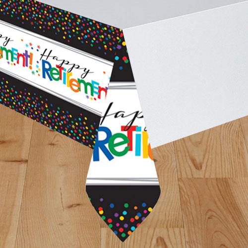 Happy Retirement Plastic Tablecover 259cm x 137cm