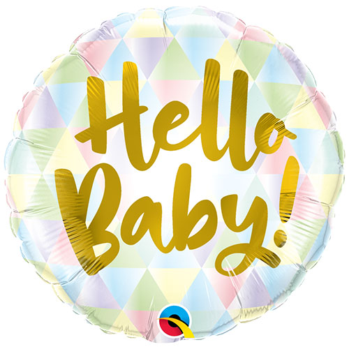 Hello Baby Pastel Round Foil Helium Qualatex Balloon 46cm / 18 in