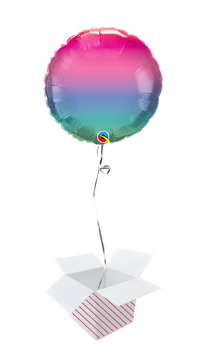 Jewel Ombre Round Foil Helium Qualatex Balloon - Inflated Balloon in a Box