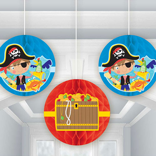 Little Pirate Honeycomb Hanging Decorations - Pack of 3