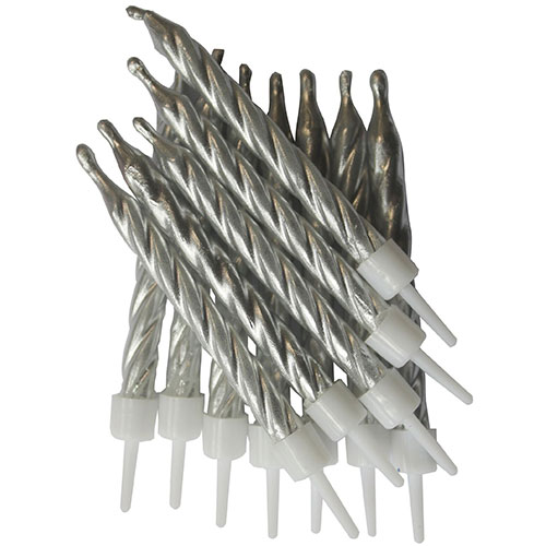 Metallic Silver Candles With Holders - Pack of 12