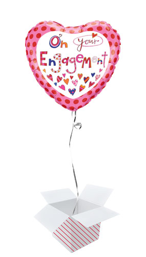 On Your Engagement Heart Shape Foil Helium Qualatex Balloon - Inflated Balloon in a Box