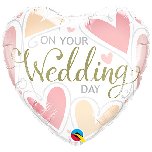 On Your Wedding Day Heart Shape Foil Helium Qualatex Balloon 46cm / 18 in
