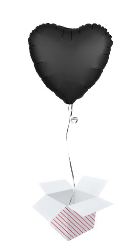 Onyx Black Satin Luxe Heart Shape Foil Helium Balloon - Inflated Balloon in a Box