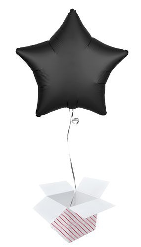 Onyx Black Satin Luxe Star Shape Foil Helium Balloon - Inflated Balloon in a Box