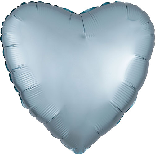 Pastel Blue Satin Luxe Heart Shape Foil Helium Balloon 43cm / 17 in