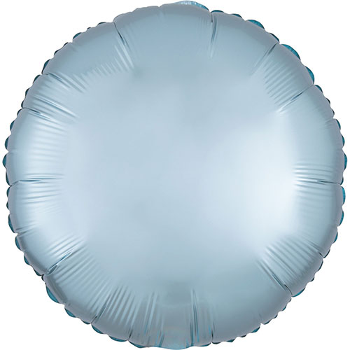 Pastel Blue Satin Luxe Round Shape Foil Helium Balloon 43cm / 17 in