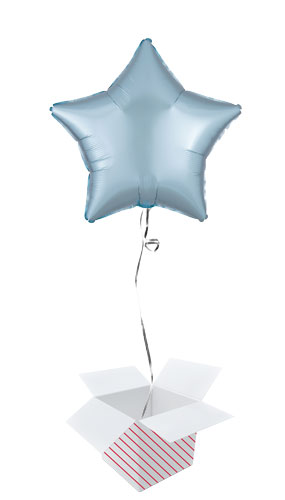 Pastel Blue Satin Luxe Star Shape Foil Helium Balloon - Inflated Balloon in a Box