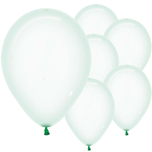 Pastel Green Crystal Biodegradable Latex Balloons 30cm / 12 in - Pack of 50