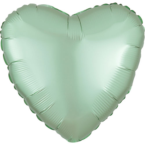 Pastel Mint Green Satin Luxe Heart Shape Foil Helium Balloon 43cm / 17 in