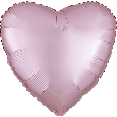 Pastel Pink Satin Luxe Heart Shape Foil Helium Balloon 43cm / 17 in