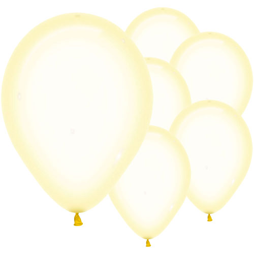Pastel Yellow Crystal Biodegradable Latex Balloons 30cm / 12 in - Pack of 50