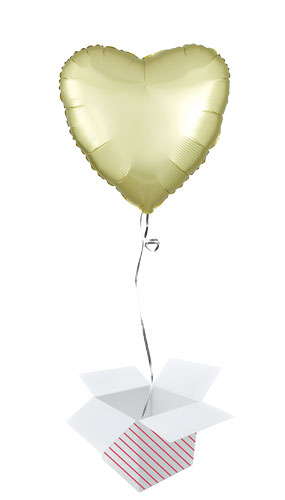 Pastel Yellow Satin Luxe Heart Shape Foil Helium Balloon - Inflated Balloon in a Box