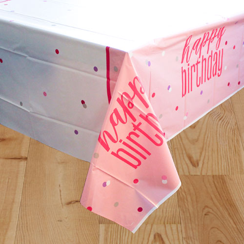 Pink Glitz Birthday Plastic Tablecover 213cm x 137cm Product Image