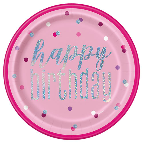 Pink Glitz Holographic Birthday Round Paper Plates 22cm - Pack of 8
