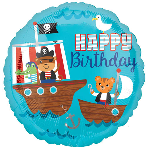 Pirate Ship Happy Birthday Round Foil Helium Balloon 43cm / 17 in